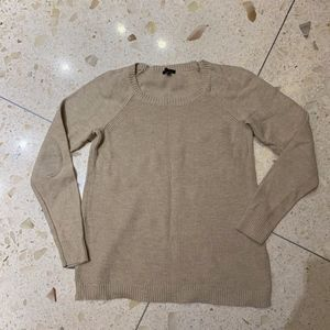 Talbots | Taupe Crew Neck Sweater w/Elbow Patches